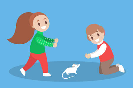 Children play with a pet rat. Little white mouse owner. Child