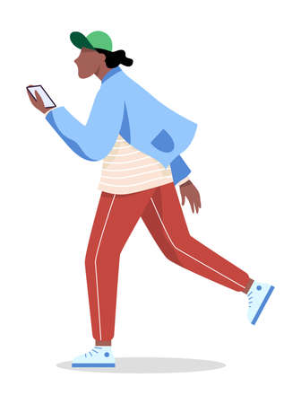 Man with mobile phone. Male character holding Illustration