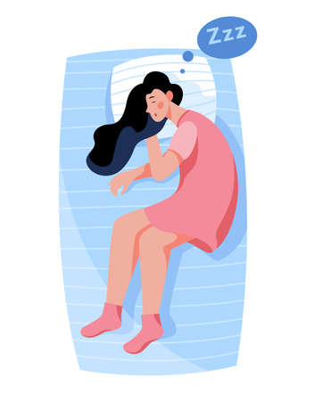 Woman sleep. Person rest in the bed on the pillow Ilustracja