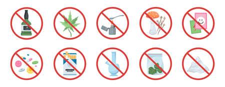 No drugs set. Narcotic behind red forbidden sign.