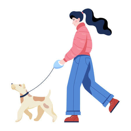 Woman walking a dog. Beautiful lady outdoor. Idea of active