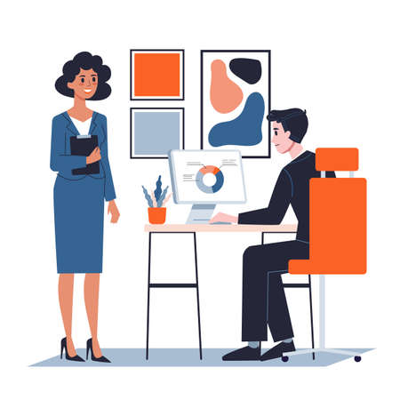 Boss and secretary in the office. Idea of job