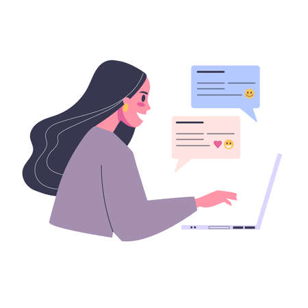 Online dating app concept. Virtual relationship and love. Communication between people through network. Perfect match and wedding. Flat vector illustration
