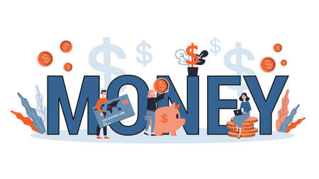Money and financial management concept. Idea of accounting and investment. Finance planning. Flat vector illustration Ilustração