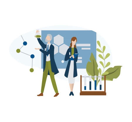 Male and female professor character in the uniform. Talk to scientist. Isolated flat vector illustration