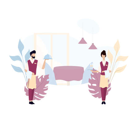 Waiter and waitress standing. Restaurant staff in the uniform, catering service. Isolated vector illustration in cartoon style