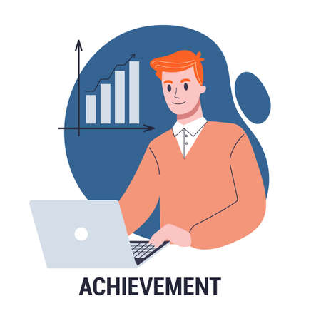 Achievement and success concept. Business career growth Çizim