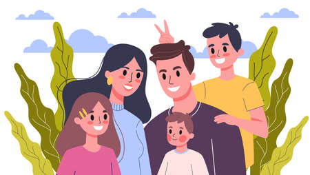 Happy family portrait. Mom and dad, children and their siblings. Isolated flat illustration Иллюстрация