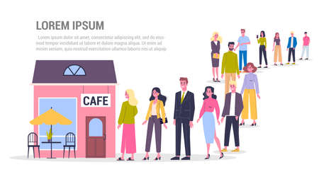 Queue to the cafe. People standing and waiting in line. Crowd at the restaurant. Flat vector illustration