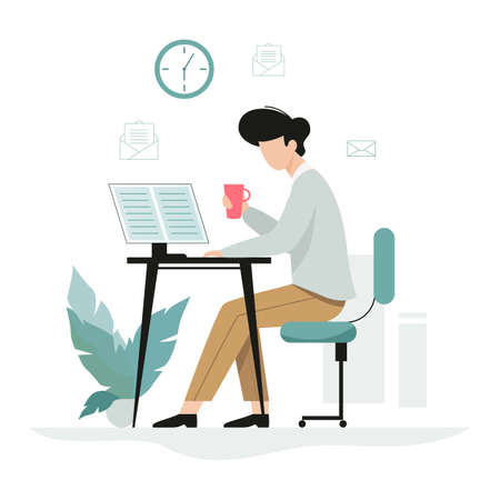 Man working at the desk, office character at the workplace. Professional worker. Vector illustration in cartoon style isolated Stock Illustratie