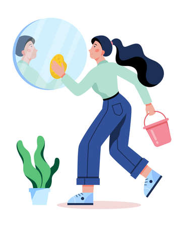 Woman clean the mirror. Domestic work, cleaner in uniform working. Housewife wash bathroom element. Isolated vector illustration in flat style