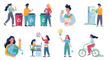 Ecology friendly habits set. Energy economy and garbage recycle concept. Eco friendly lifestyle. Isolated flat vector illustration