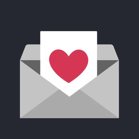 Icône d'enveloppe avec le symbole du coeur. Idée de message d'amour et de Saint Valentin. Courriel romantique. Illustration vectorielle isolée dans un style plat
