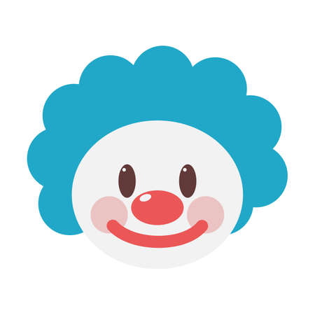 Clown face icon. Funny cute party character. Idea of birthday celebration and entertainment. Isolated flat vector illustration Иллюстрация