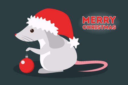 Cute christmas rat. Animal character in Santa Claus hat. 2020 year of the rat. Isolated vector illustration in flat style