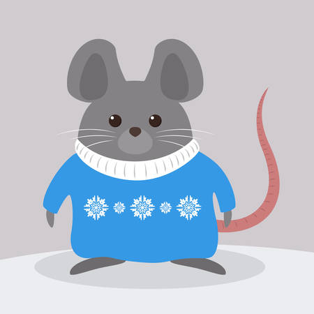 Cute christmas rat. Animal character in the sweater. 2020 year of the rat. Isolated vector illustration in flat style Illusztráció