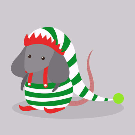 Cute christmas rat. Animal character in elf hat. 2020 year of the rat. Isolated vector illustration in flat style