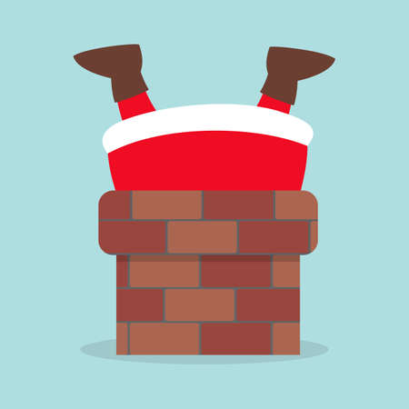 Cute Santa Claus in red clothes stuck in chimney. Merry Christmas and New Year celebration. Funny character. lat illustration Ilustração