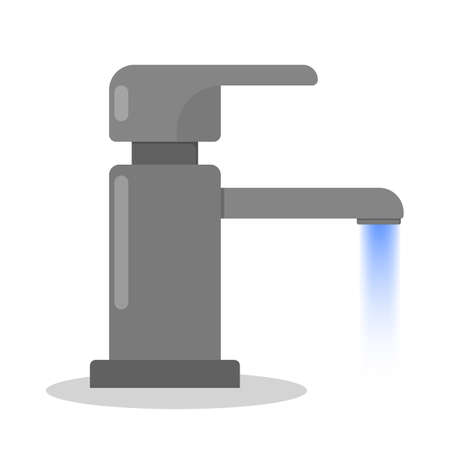 Faucet, kitchen and bathroom tap. Water tool. Isolated vector illustration in flat style