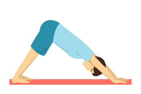 Downward facing dog yoga pose. Fitness exercise