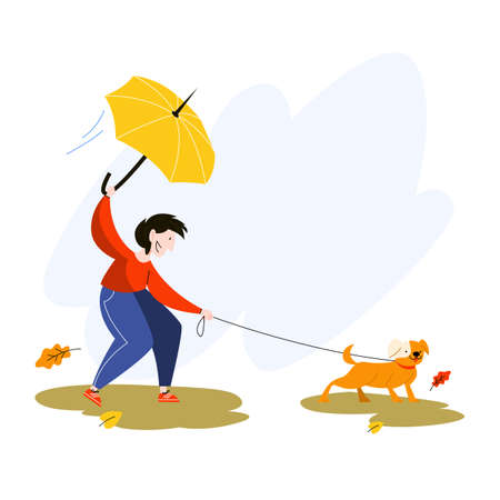 Happy man with yellow umbrella walking a dog under the rain. Domestic animal , cute pet and owner guy. Isolated flat vector illustration
