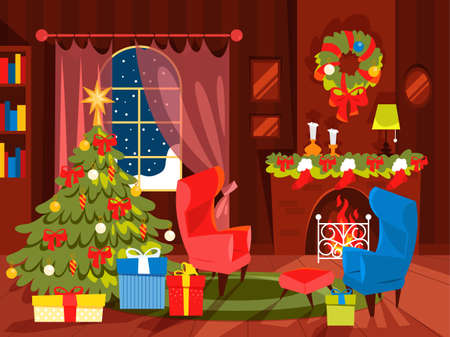 Christmas decoration, living room design with Christmas tree. Gift box under the Christmas tree. Vector illustration in cartoon style.