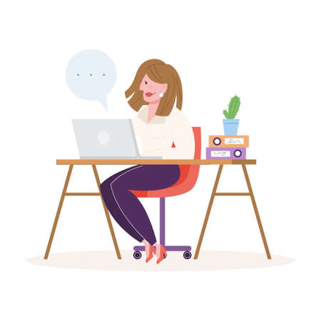 Woman working at the desk, office character at the workplace. Professional worker. Vector illustration in cartoon style isolated