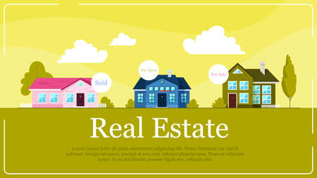Real estate banner concept. Idea of house for sale and rent. Investment in property. Vector illustration in cartoon style