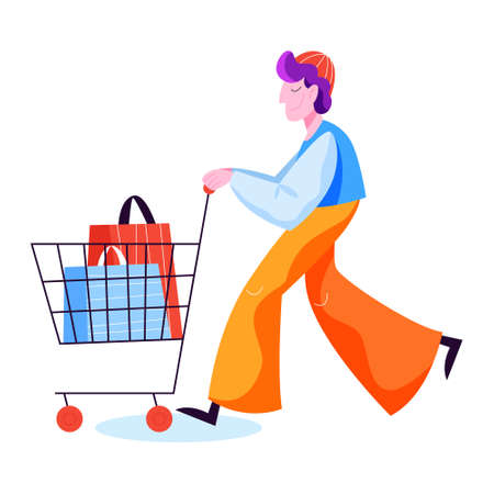 Man shopping. Person with bag in shopping cart Illustration
