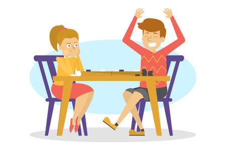 Children sitting at the table and play checkers. Board game, happy child have fun. Kid playing. Vector illustration in cartoon style Vecteurs