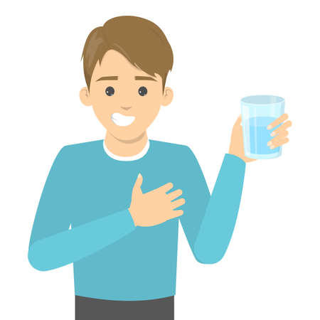 Man drink water. Healthy lifestyle concept. Glass of fresh drink. Isolated vector illustration in cartoon style