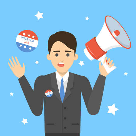 Candidate for president in suit on election campaign. Vote for me concept. Career in politics. Isolated vector illustration in cartoon style Illusztráció