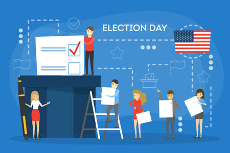 Election campaign concept. People vote for the candidate. Making decision and put ballot in the box. Idea of democracy and government. Vector illustration in cartoon style