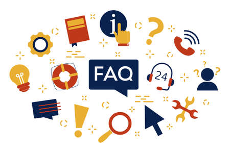 FAQ or question and answer concept. Customer help  イラスト・ベクター素材
