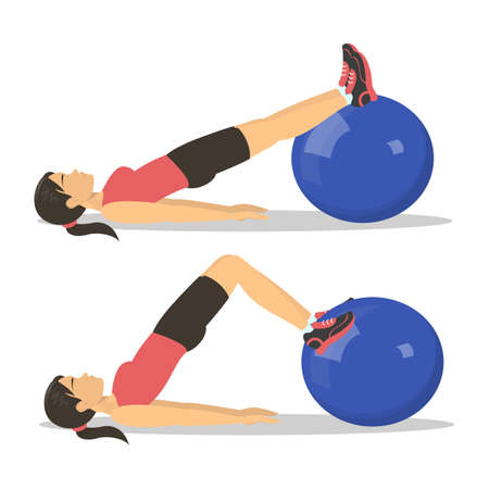 Exercise ball workout. Idea of body health and training in the gym. Healthy lifestyle. Workout with equipment. Isolated vector illustration in cartoon style
