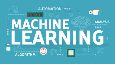Machine learning concept. Artificial intelligence learning new algorithm and improve. Idea of futuristic technology and automation. Isolated vector illustration in flat style