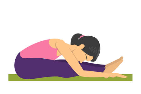 Postura de yoga de flexión hacia adelante. Ejercicio para estirar el cuerpo. Entrenamiento de fitness en el gimnasio. Ilustración de vector aislado en estilo de dibujos animados