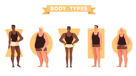 Male body shapes set. Triangle and rectangle, pear and apple figure. Human anatomy. Vector illustration in cartoon style Vettoriali