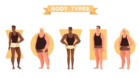 Set di forme del corpo maschile. Triangolo e rettangolo, figura di pera e mela. Anatomia umana. Illustrazione vettoriale in stile cartone animato