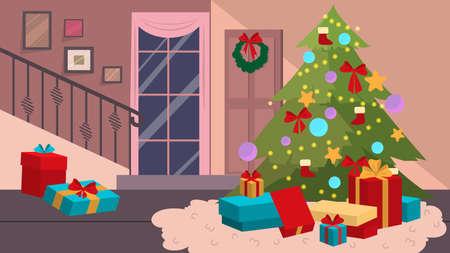 Decoration of christmas room, home interior. Christmas tree design.