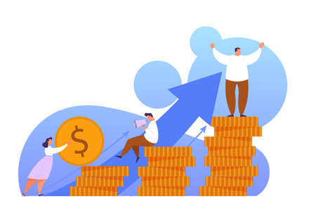 Increase revenue design of web banner concept. Idea of capital growth and finance investment. Business profit. Isolated flat vector illustration