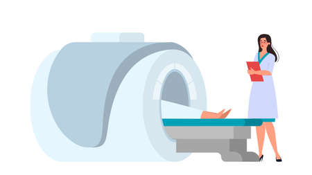 MRI scan procedure. Doctor and patient at the scanner. Magnetic resonance tomography, medical diagnostic. Vector illustration in flat style Çizim