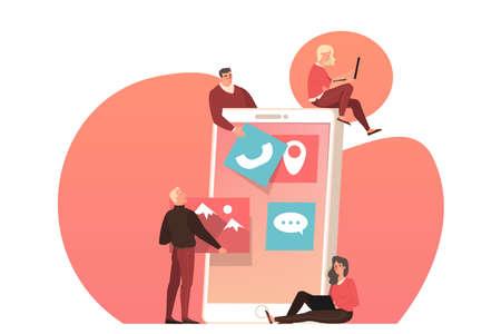 Web design development on smartphone device screen