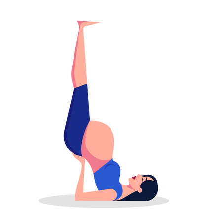 Yoga for pregnant woman concept. Fitness and sport during pregnancy. Healthy lifestyle and relaxation. Isolated vector illustration in cartoon style