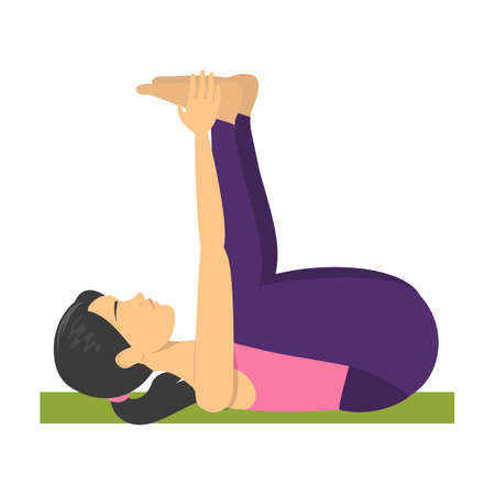 Baby yoga pose. Exercise for body stretch