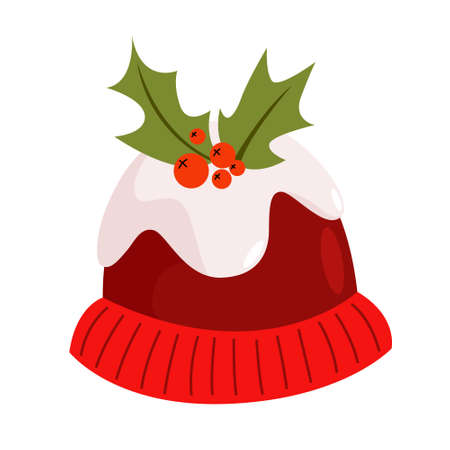 Vector holiday icon of red hat with mistletoe. Fun xmas party costume, festive symbol. 矢量图像