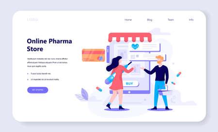 Vector illustration of online pharmacy store. Medicines online Ilustração