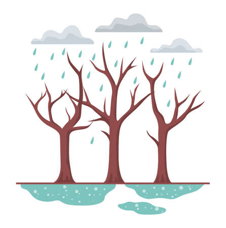 Vector illustration of acid rain. Toxic environmental.