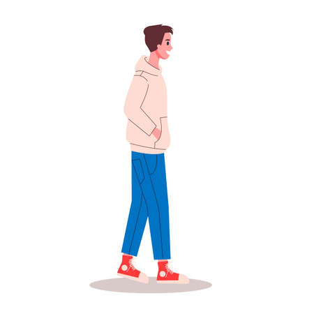Young man walking with his hands in the pockets. Isolated illustration in cartoon style Illustration