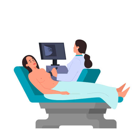 Female having a breast cancer diagnostic ultrasound procedure 向量圖像